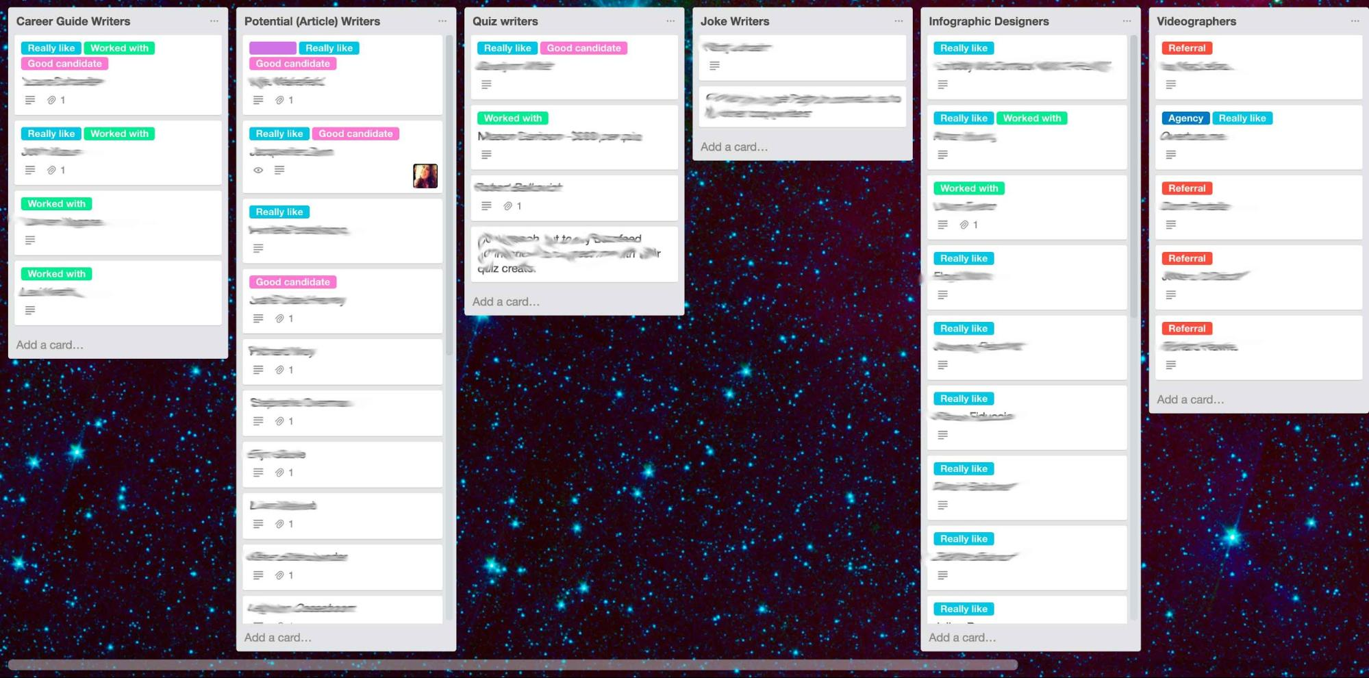 talent database trello board