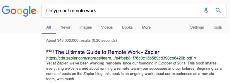 Google search filetype